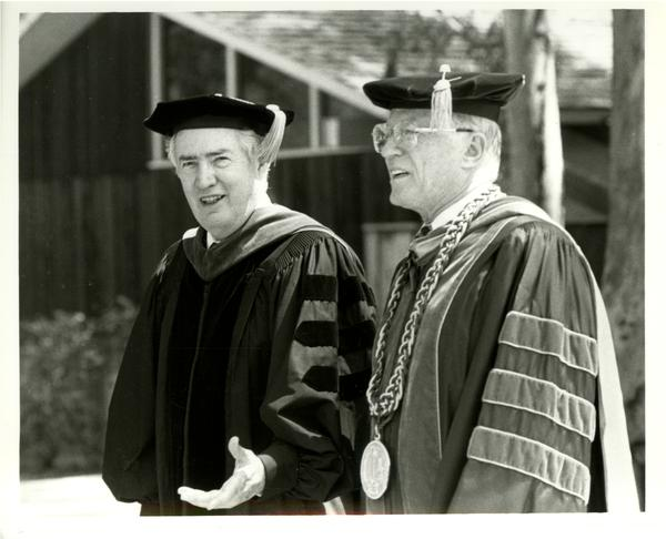 Charles E. Young and Lauro Cavozos at Academic Convocation, 4/7/1989
