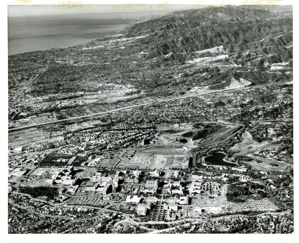 Aerial view of University of California, Los Angeles, December 2, 1959