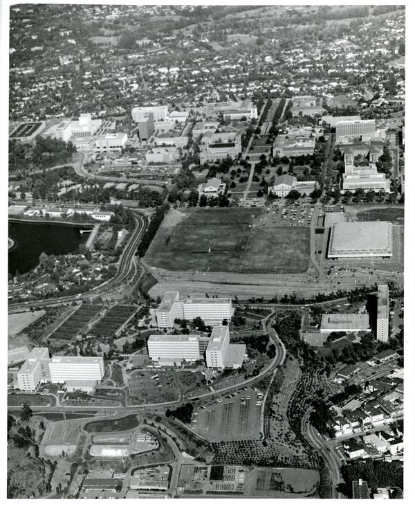 Aerial view of University of California, Los Angeles, ca. 1966-1967