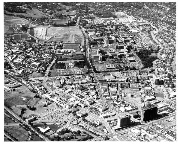 Aerial view of University of California, Los Angeles and Westwod Village, ca. 1960's