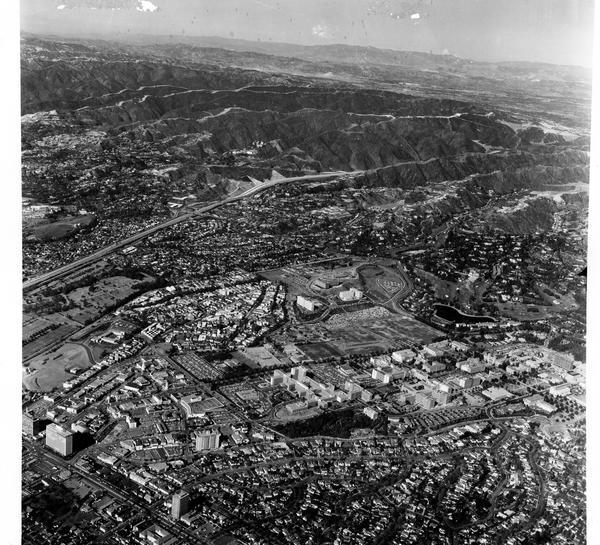 Aerial view of University of California, Los Angeles, West Los Angeles, 1962-1963