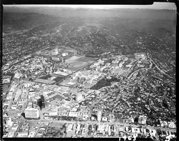 Aerial view of University of California, Los Angeles, 1963