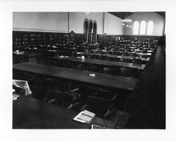 Powell Library during an air raid drill, April 24, 1954
