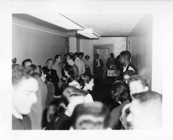 Powell Library during an air raid drill, April 24, 1954