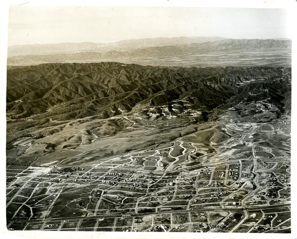 Aerial view of Westwood from Santa Monica Blvd, December 10, 1926