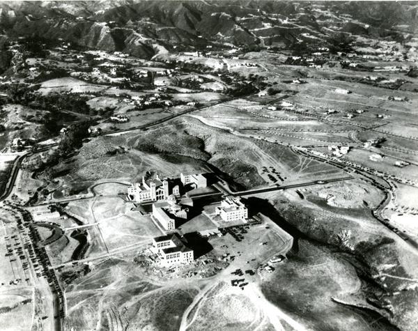 Aerial view of Westwood campus, Kerckhoff Hall, 1936