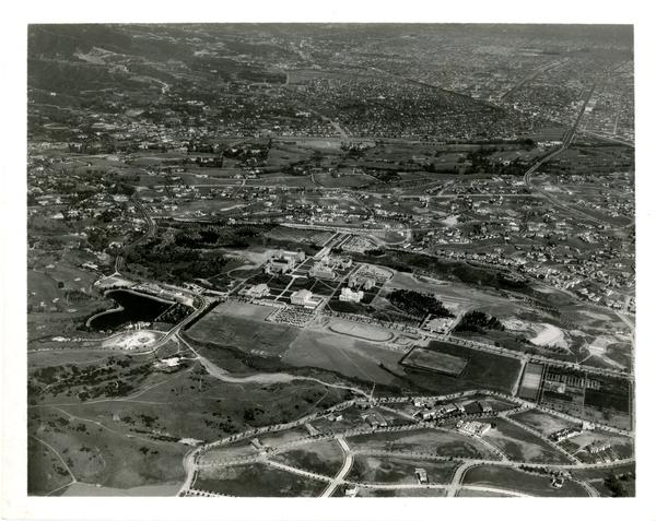 Aerial view of Westwood campus, Westwood Village, March 23, 1936