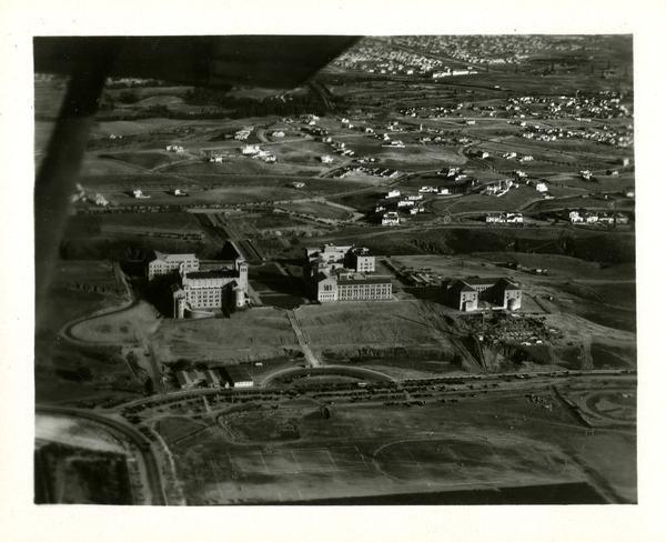 Aerial view of Westwood campus, Westwood Village, ca. 1930