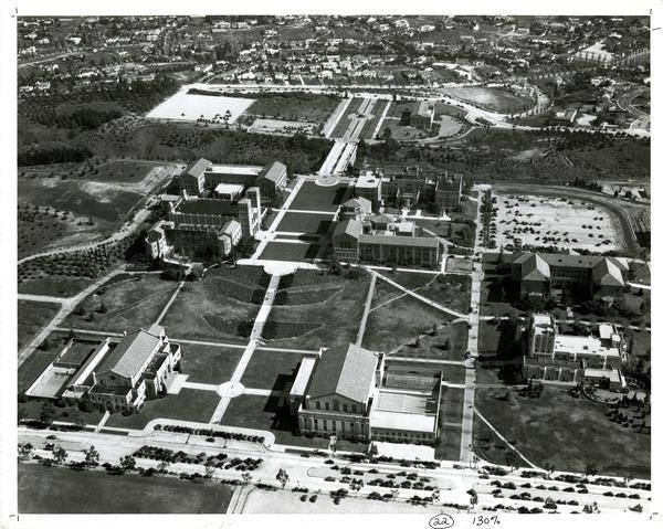 Aerial view of Westwood campus, ca. 1940's