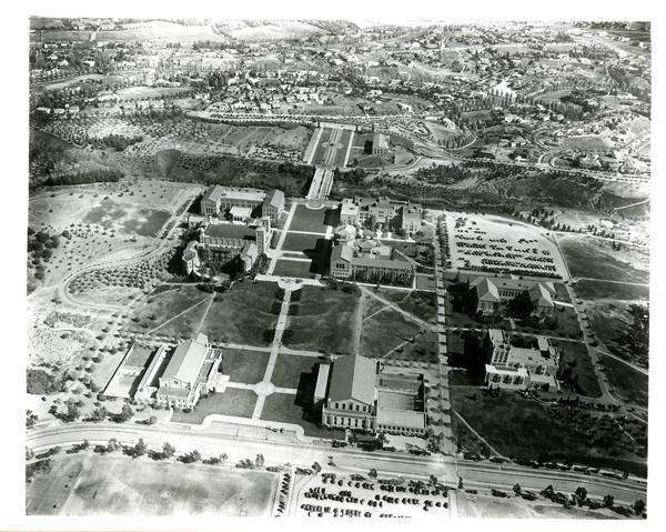 Aerial view of Westwood campus, Westwood Village, ca. 1940