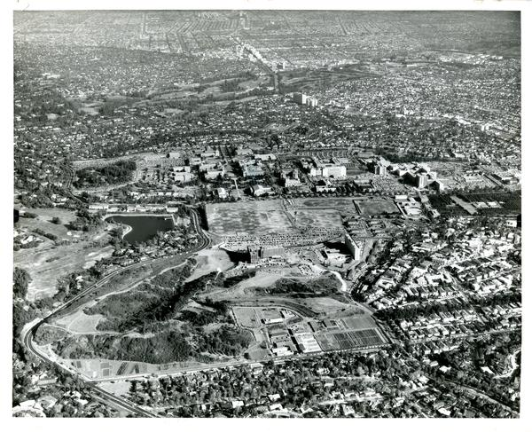 Aerial view of University of California, Los Angeles, November 17, 1959
