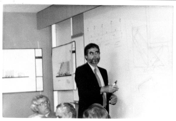 Speaker and participants at the Design Seminar for School of Architecture, 1982