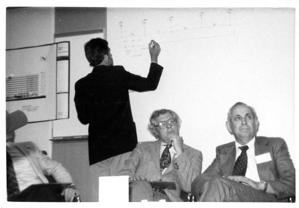 Presenter and participants at the Design Seminar for the School of Architecture, 1982