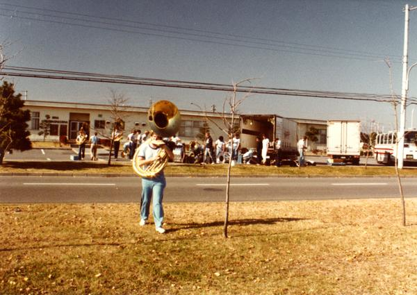 Young man with sousaphone
