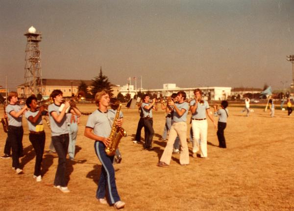 Brass instrumentalists during marching practice