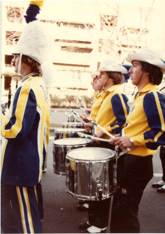 Percussion players marching