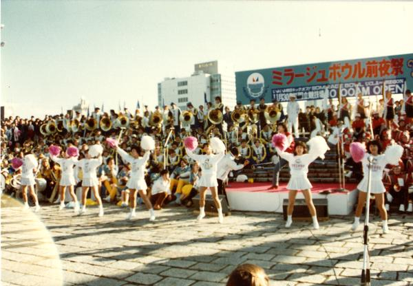Japanese cheerleading team performing in front of crowd