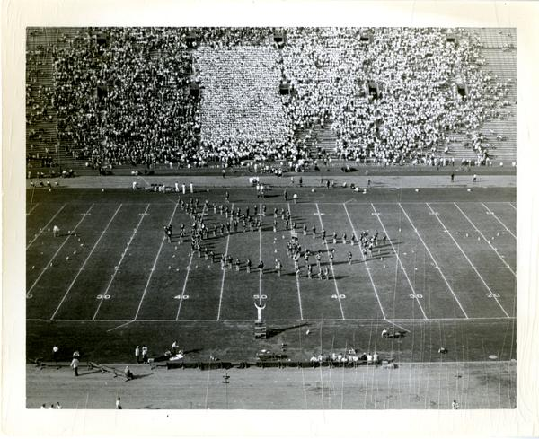 View of marching band performing