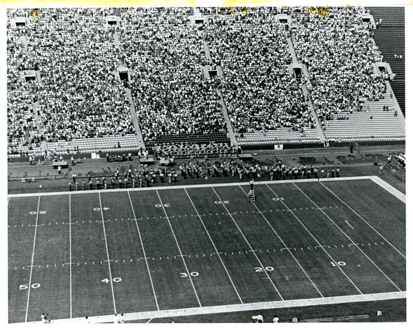 Aerial view of UCLA Band & All American Chorus 1971