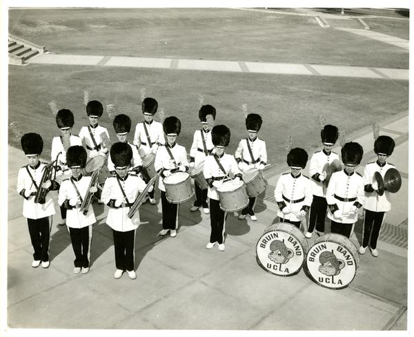 UCLA Marching band percussion players