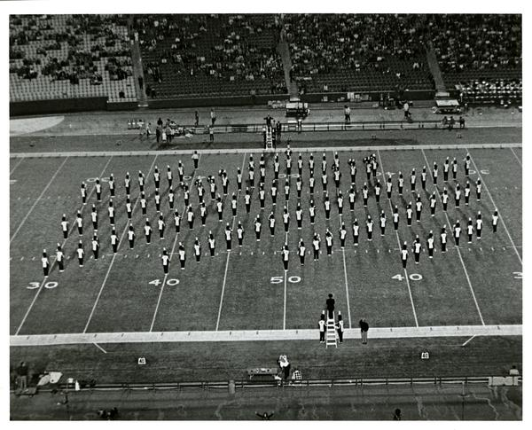 Marching band march in formation at UCLA vs. OSU game, 1971