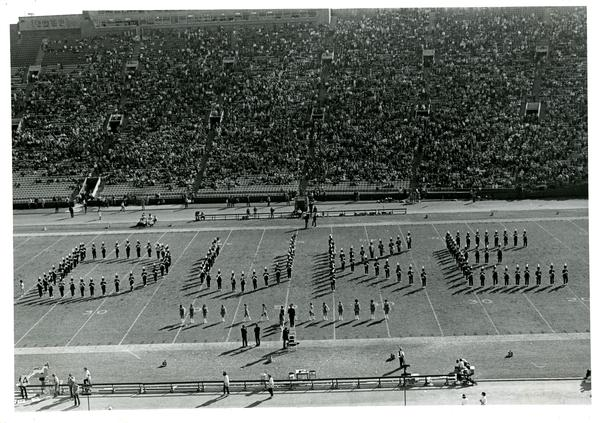 "Marching band march in formation of ""DUKE"""