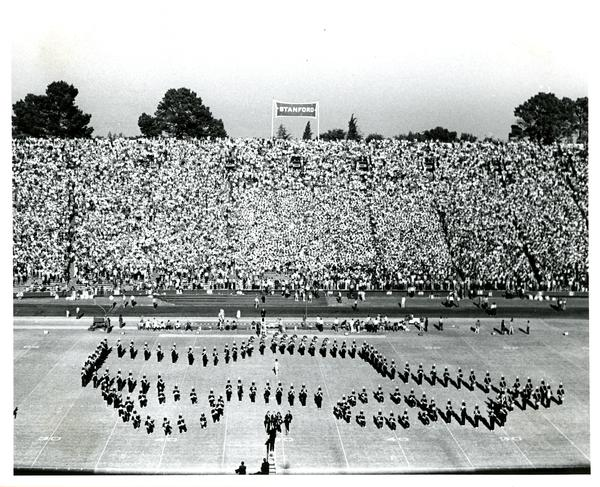 Marching band march in formation at Stanford vs. UCLA game, 1971