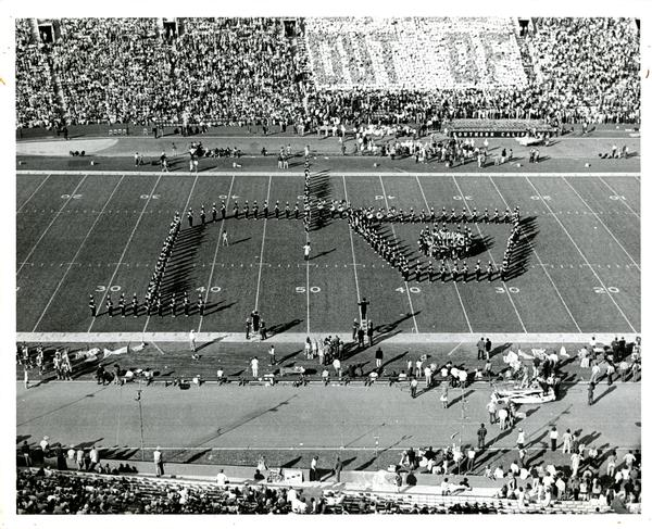 Marching band performing at UCLA vs. USC game, 1971