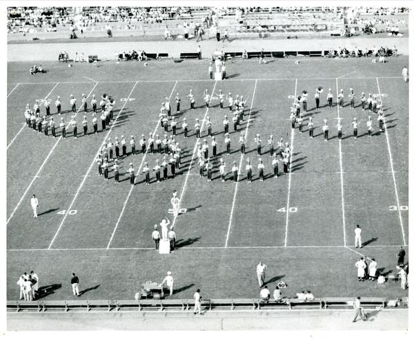 UCLA Marching Band performing, 1954