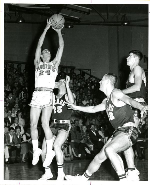 Gail Goodrich shooting in game versus UC Berkeley, 1963