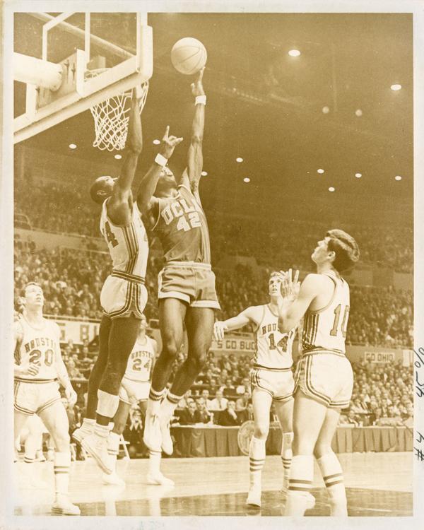 Lucius Allen shoots over Elvin Hayes in NCAA semifinal versus Houston, 1968
