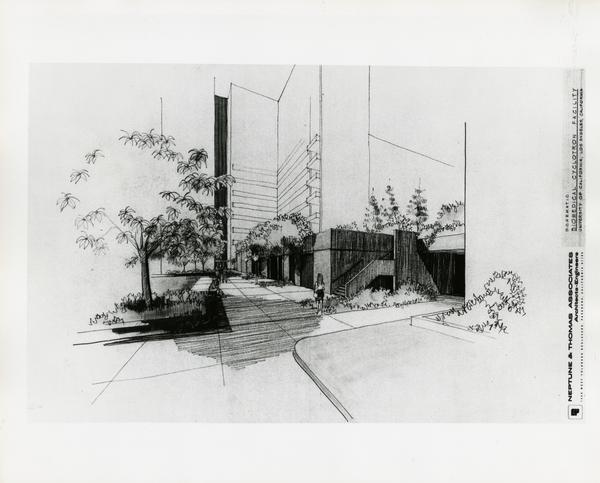 Architectural sketch of Biomedical Cyclotron Facility, ground level view