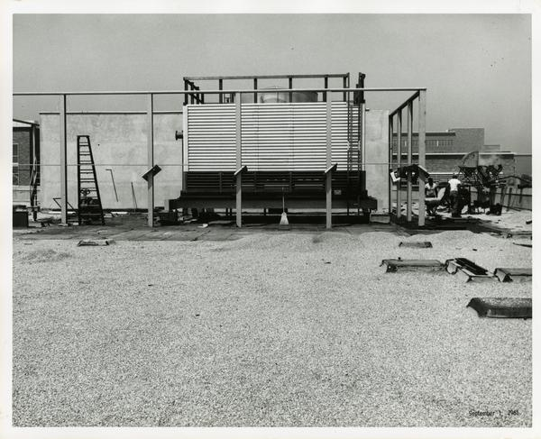 Workers on Boelter Hall roof, 1961