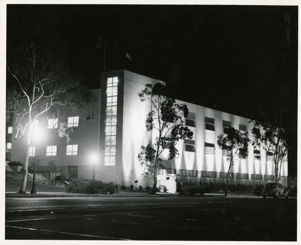 Boelter Hall exterior illuminated at night