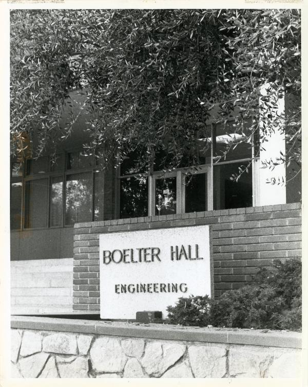 Front exterior view of Boelter Hall with name placard