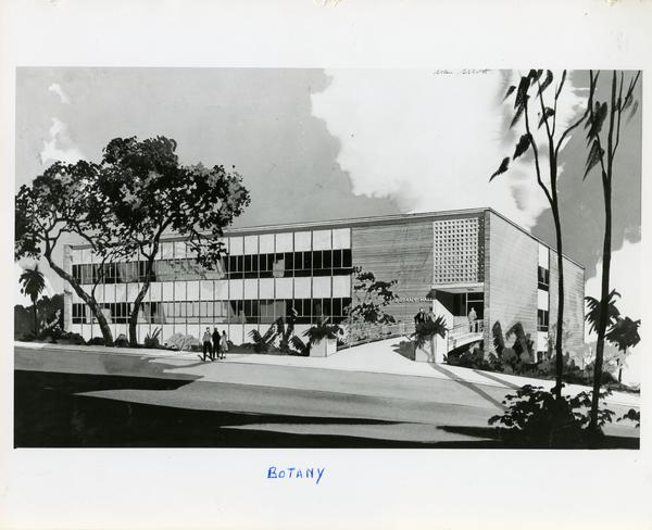 Sketch of Botany Building exterior from street