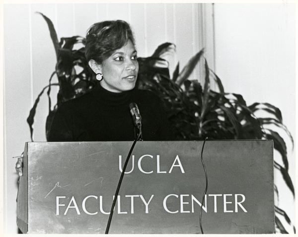 Unidentified speaker at podium, Breslow Lecture, 1991