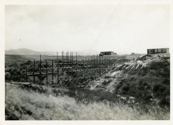 View of earlier construction site of bridge across the deep arroyo