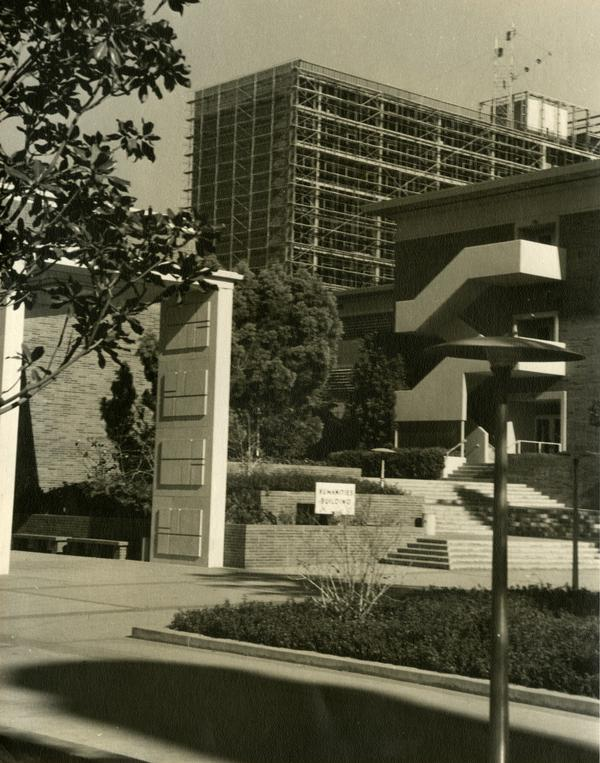 Bunche Hall under construction, as seen between Humanities Building and Campbell Hall, 1963