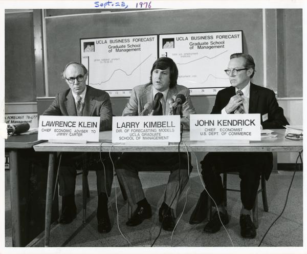 Lawrence Klein, Larry Kimbell, and John Kendrick at a Graduate School of Management news conference, September 23, 1976