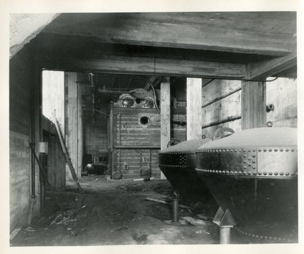 View of interior of Campbell Hall during construction