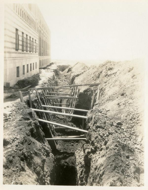 Dug up ground behind Campbell Hall building
