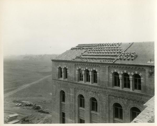 Roof work on Campbell Hall building