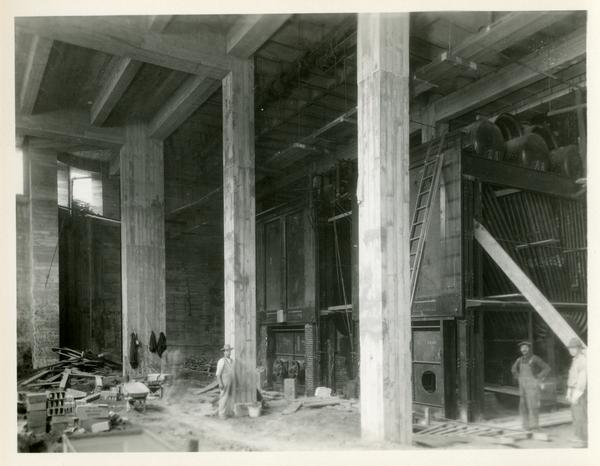 Inside view of Campbell Hall building being constructed