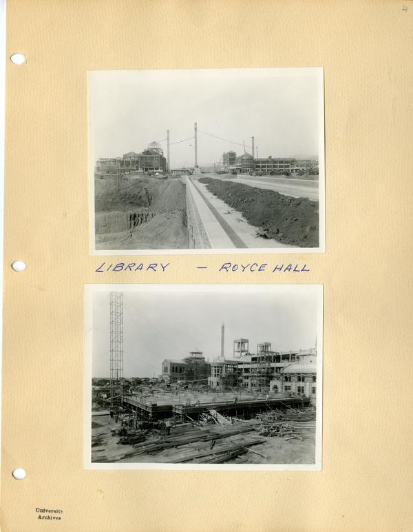 Two photographs of campus construction of Royce Hall and library