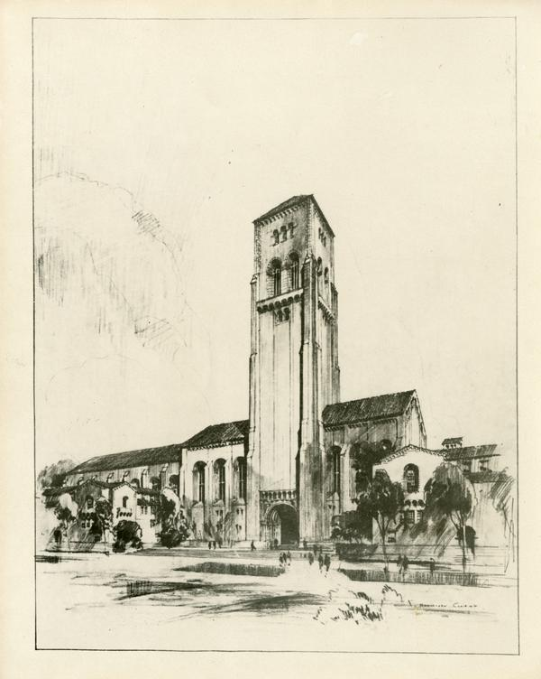 Drawing of a tall tower building