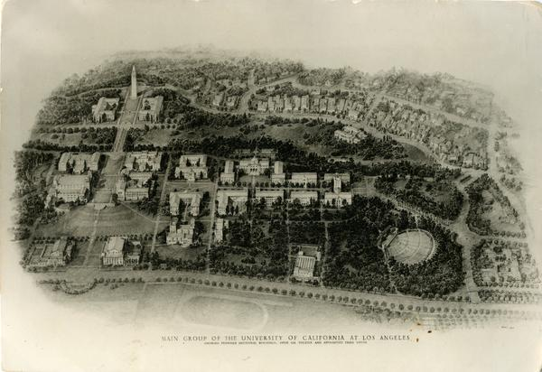 Drawing showing main Group of the University of California at Los Angeles showing proposed additional buildings, open air theater and approaches from south