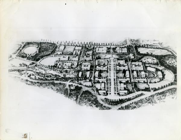 Architect's drawing of the general plan of the new building program for the UCLA