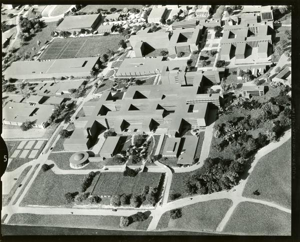 Architectural model of UCLA campus, focused on the south campus