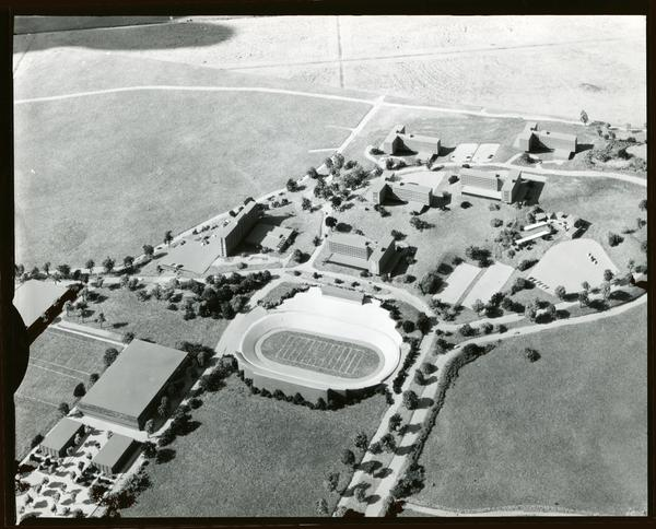 Architectural model of UCLA campus, focused on the football stadium